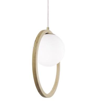 Lámpara de techo aro madera y bola de cristal ND45 Ø39cm