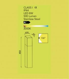 Baliza exterior led 8w acero 45cm 500lm, especificaciones