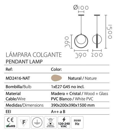 Características Lámpara de techo aro madera ND45 Ø39cm