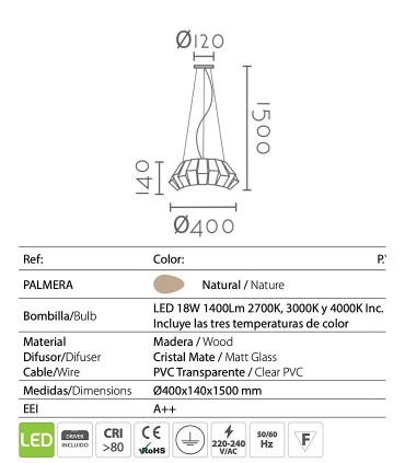Características Lámpara de techo Palmera