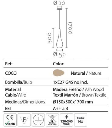 Características Lámpara colgante madera COCO Ø15cm