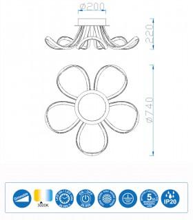 Características Plafón Knot 60w Plata Dimmable 5916  Mantra