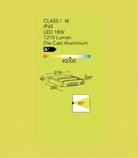 Aplique Exterior Spot doble 18w 1.210lm orientable
