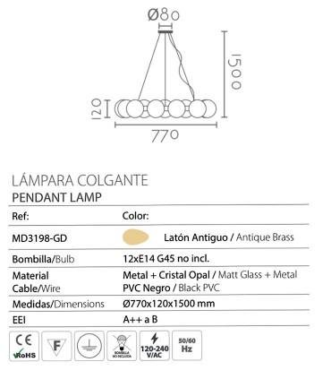 Características Lámpara con 12 globos dorada