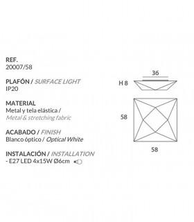 Características Plafón de Tela Polaris mediano 58cm 4 luces E27 - Ole by FM
