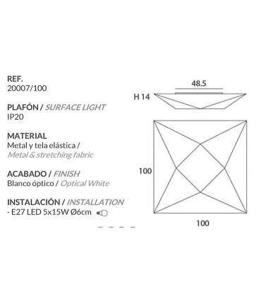 Características Plafón de Tela Polaris muy grande 100cm 5 luces E27 - Ole by FM