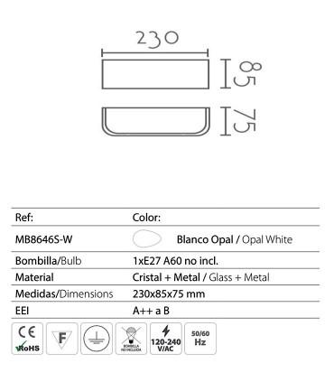 Características Aplique cristal bombilla E27 TD11 23cm blanco