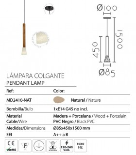 Características Lámpara colgante madera-porcelana ND52 Ø8,5cm