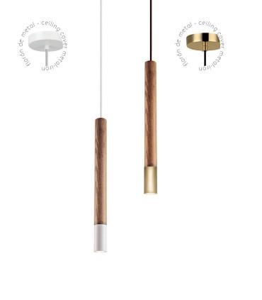Lámpara colgante madera blanco o dorado ND53 Ø8,5cm