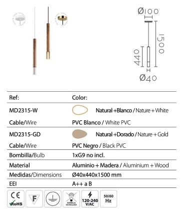 Características de los colgantes ND53 de madera y metal