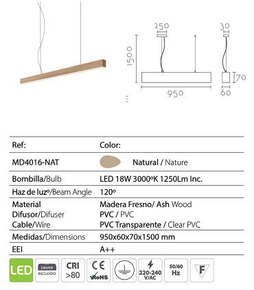 Características  Lámpara de techo madera LED ND54 95cm