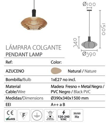 Características Lámpara colgante madera AZUCENO Ø39cm E27