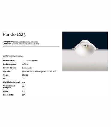 Características Aro empotrable basculante escayola GU10 Rondo 1023
