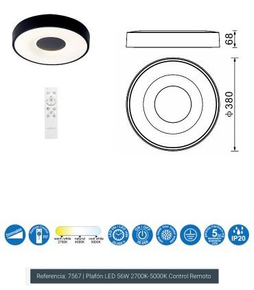 Plafón Coin Negro 56W - 7567 Mantra