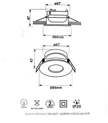 Dimensiones Aro GUINCHO para bombilla GU10 Blanco Redondo 7535 - Mantra