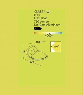 Aplique exterior Aluminio 12W 780lm 4000K, especificaciones