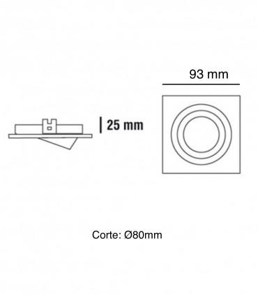 Dimensiones: Aro foco empotrable Helium cuadrado oro viejo GU10