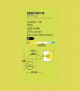 Aplique exterior brazo Aluminio 8.4W 310lm 4000K, especificaciones