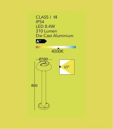 Baliza exterior Aluminio 8.4W 310lm 4000K, especificaciones