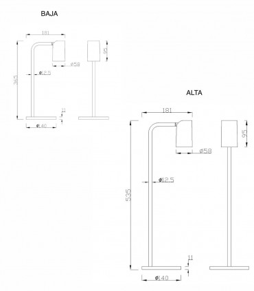 Dimensiones: Lámpara de mesa SAL 7515-7516 negro - Mantra