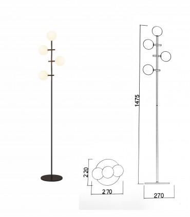 Dimensiones Lámpara de pie Cellar 4L G4 negro 7639 - Mantra