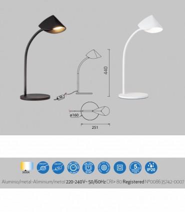 Características Lámpara de mesa Capuccina 8.5W Baja 44cm negro, blanco - Mantra
