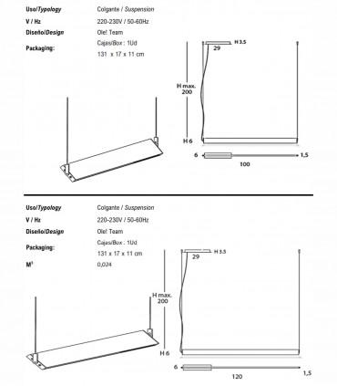 Dimensiones Lámpara colgante MANOLO Lineal 100cm, 120cm - Ole By FM