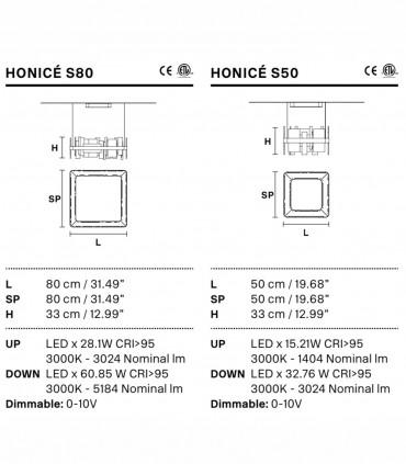 Características Lámpara suspensión Honicé Cuadrada Ø50cm, Ø80cm - Masiero