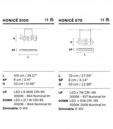 Caraccterísticas Lámparas suspensión Honicé Lineal S70 S100 - Masiero