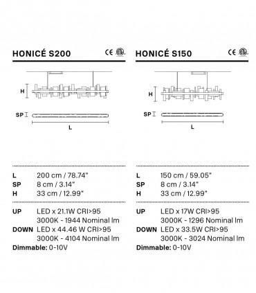 Caraccterísticas Lámparas suspensión Honicé Lineal S150, S200 - Masiero