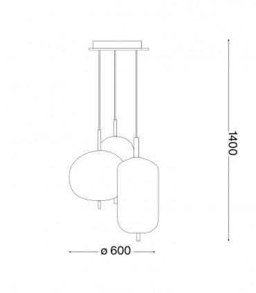 Dimensiones Lámpara de techo Umile LED 3 colgantes 60W - Ideal Lux