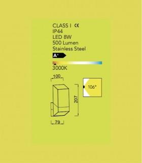 Aplique exterior Ft Aluminio 8W 500lm 3000K, especificaciones