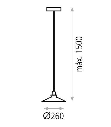 Dimensiones Lámpara Colgante 1 Luz Bagao Ø26cm E27 - ACB