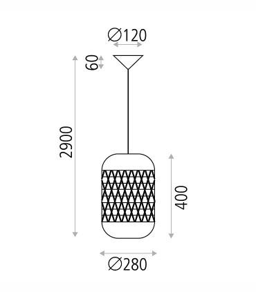 Dimensiones: Lámpara Colgante Vivian Ratán Natural Ø28cm - ACB