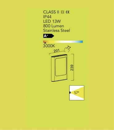 Aplique Exterior Led Fc Acero 13W 800lm 3000K, especificaciones