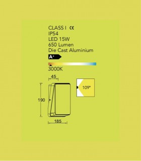 Aplique Exterior Ev Aluminio Gris 15w 650lm, especificaciones