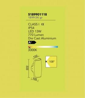Aplique Exterior SC Aluminio Gris 13w 770lm 3000K, especificaciones