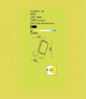 Aplique exterior FC Aluminio 18W 1.000lm 3000K, especificaciones