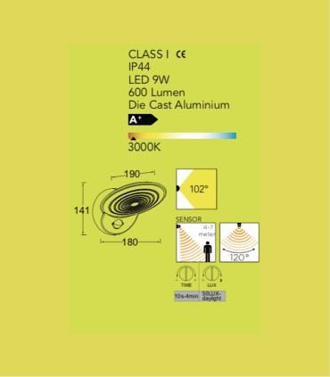 Aplique exterior TN Aluminio 9W 600lm 3000K con sensor de presencia