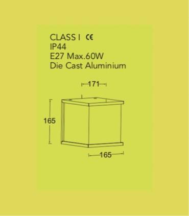 Aplique Exterior BXO Gris Oscuro E27 16.5cm, especificaciones