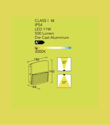 Aplique exterior LT Aluminio 11W 500lm 3000K, especificaciones