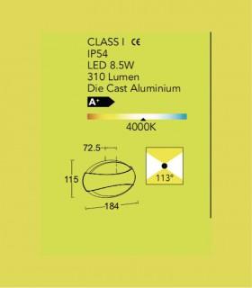 Aplique exterior ESE Aluminio 8.5W 310lm 4000K, dimensiones