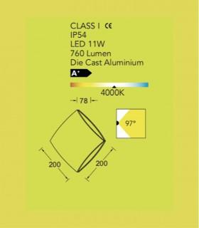 Aplique exterior PL Aluminio 11W 760lm 4000K, especificaciones