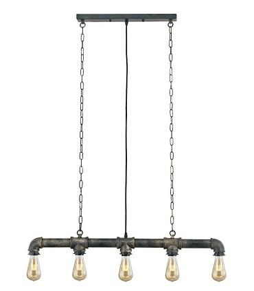 Lámpara Colgante Vintage Tubería 5 luces envejecido.