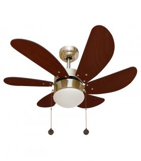Ventilador con Luz 6 aspas 77cm Cerezo-Cuero