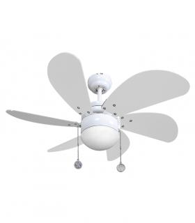 Ventilador con Luz 6 aspas 77cm Blanco