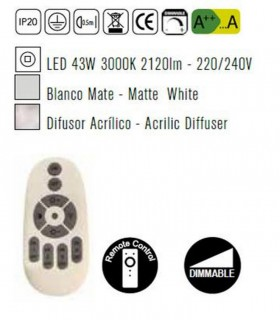 Plafón de techo LUNAS Led 43W Dimmable Blanco 5768 Mantra