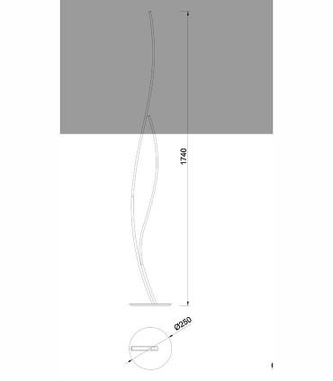 Lámpara de pie Corinto LED 30w regulable de Mantra, 6108, dimensiones