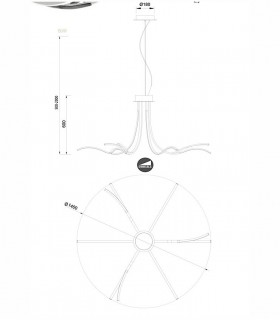 Lámpara colgante Corinto LED 80w regulable de Mantra, 6106, dimensiones.