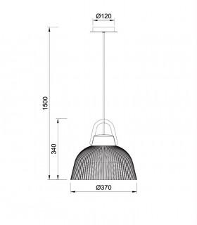 Lámpara colgante Kinké 37cm Gris Antracita, 6211 De Mantra, dimensiones.